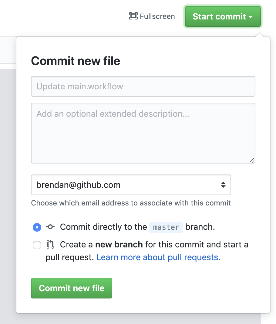 commit the new workflow file